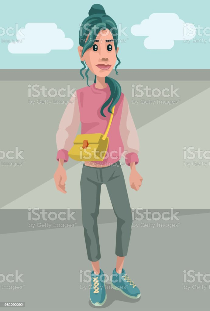 Tomboy Fashionista vector art illustration