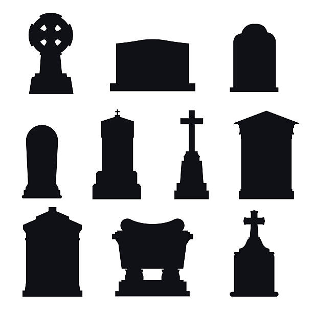 tombs stone grave vector construction black and white icons - tombstone stock illustrations, clip art, cartoons, & icons