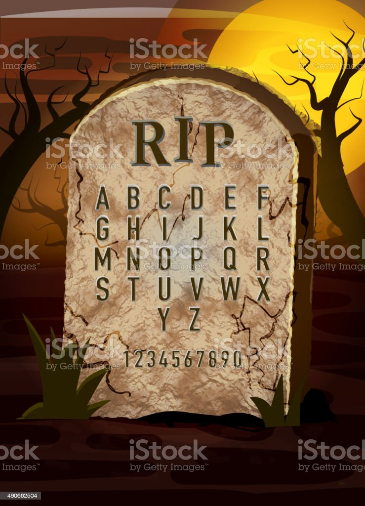 tombstone alphabet with spooky grave yard invite design template