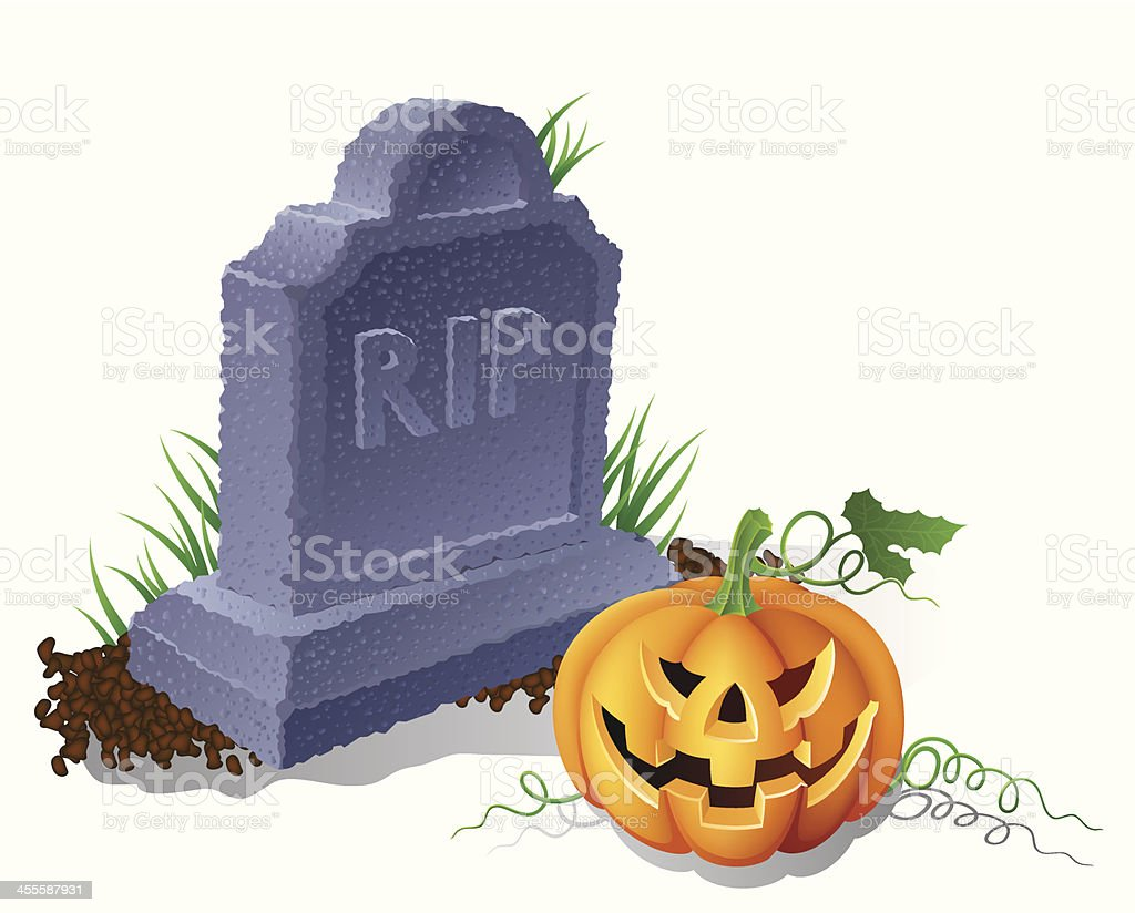 Tombstone and Jack-o-Lantern vector art illustration