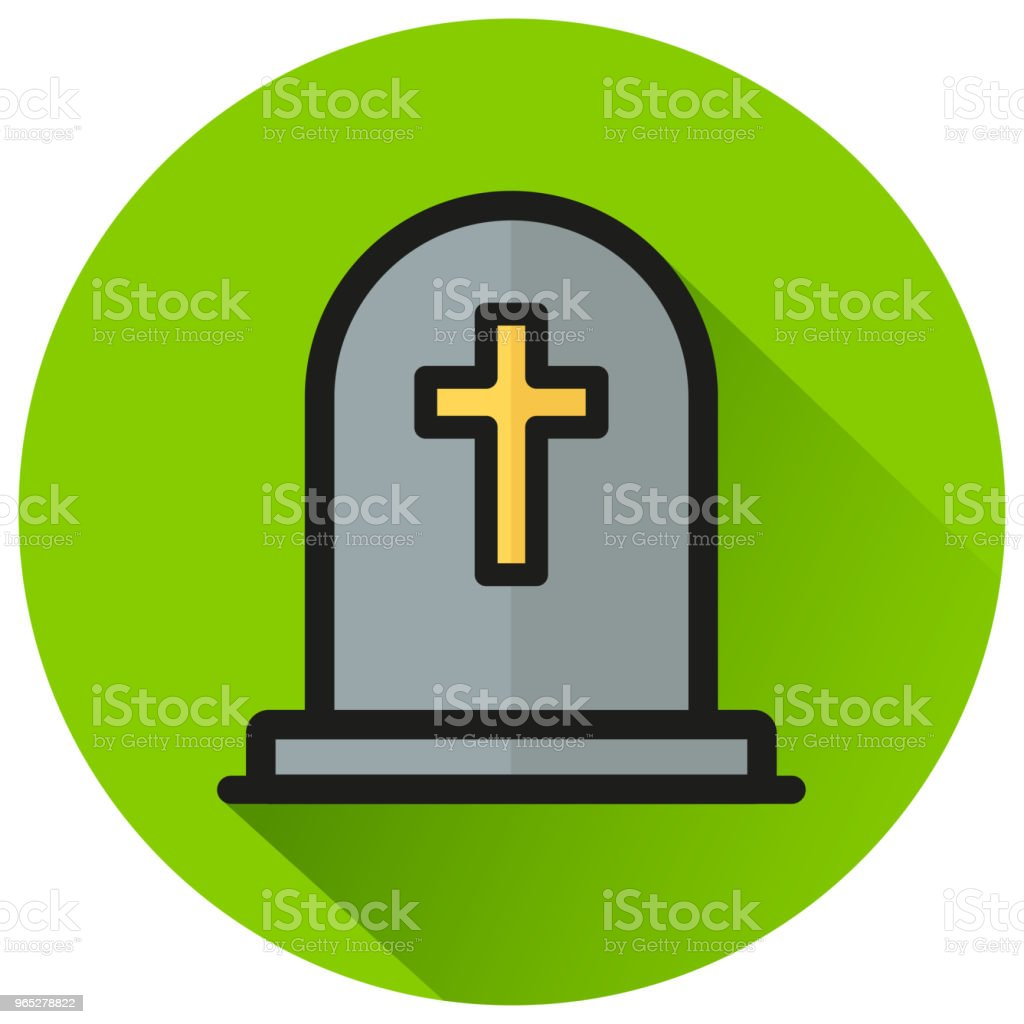 tombstone circle green flat icon royalty-free tombstone circle green flat icon stock vector art & more images of cartoon