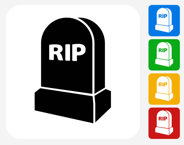 rip tombstone icon flat graphic design - tombstone stock illustrations, clip art, cartoons, & icons