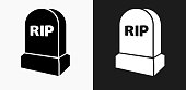 istock RIP Tombstone Icon on Black and White Vector Backgrounds 700522046