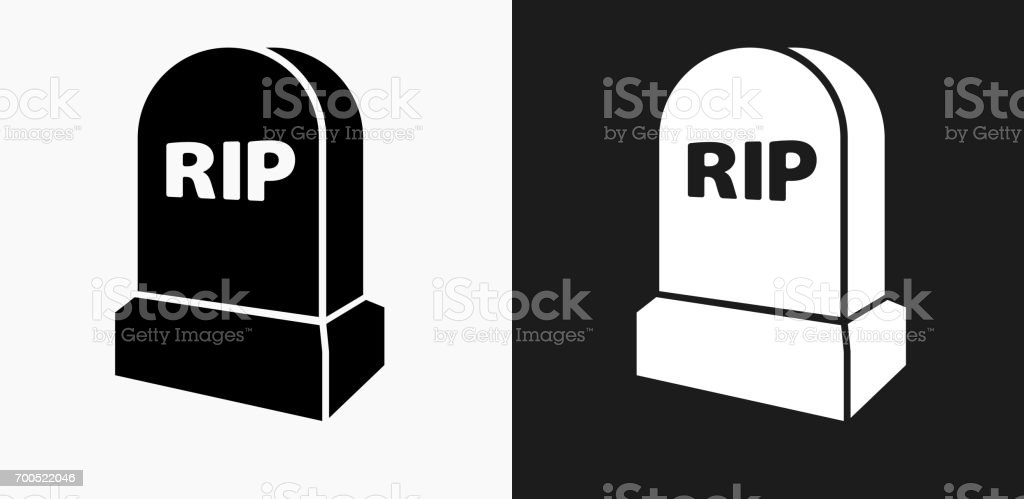 RIP Tombstone Icon on Black and White Vector Backgrounds vector art illustration