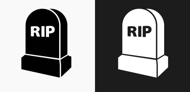rip tombstone icon on black and white vector backgrounds - tombstone stock illustrations, clip art, cartoons, & icons
