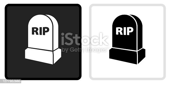 RIP Tombstone Icon on  Black Button with White Rollover. This vector icon has two  variations. The first one on the left is dark gray with a black border and the second button on the right is white with a light gray border. The buttons are identical in size and will work perfectly as a roll-over combination.