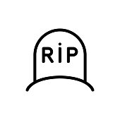 tombstone icon vector. Thin line sign. Isolated contour symbol illustration