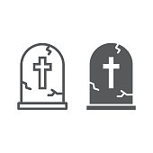 Tombstone line and glyph icon, halloween and death, grave sign, vector graphics, a linear pattern on a white background, eps 10.