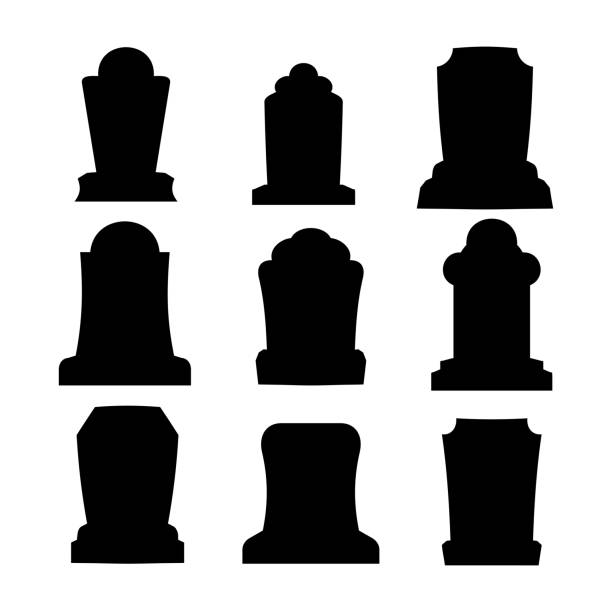 tombstone silhouette set for halloween. gravestone cemetery collection. vector illustration - tombstone stock illustrations