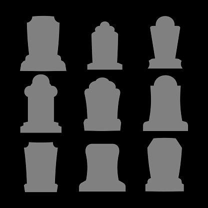 Tombstone silhouette set for halloween. Gravestone cemetery collection. Vector illustration