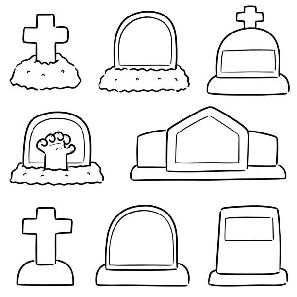 stockillustraties, clipart, cartoons en iconen met tombstone - funeral crying