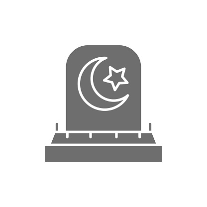 Tombstone with arabic sign, grave, gravestones gray icon.
