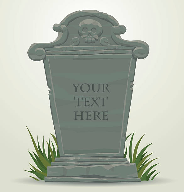 tombstone with skull - tombstone stock illustrations
