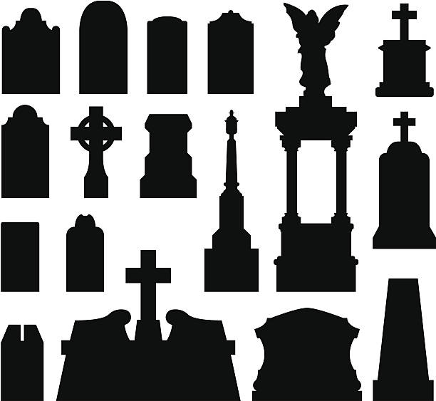 tombstones and grave monuments - tombstone stock illustrations, clip art, cartoons, & icons