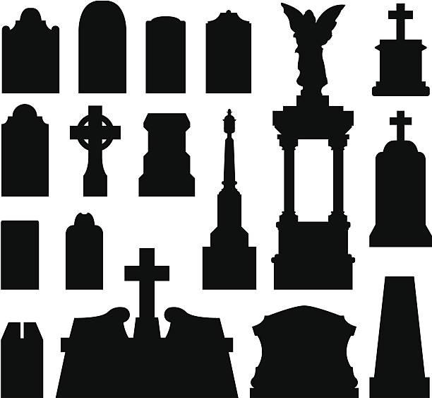 stockillustraties, clipart, cartoons en iconen met tombstones and grave monuments - funeral crying