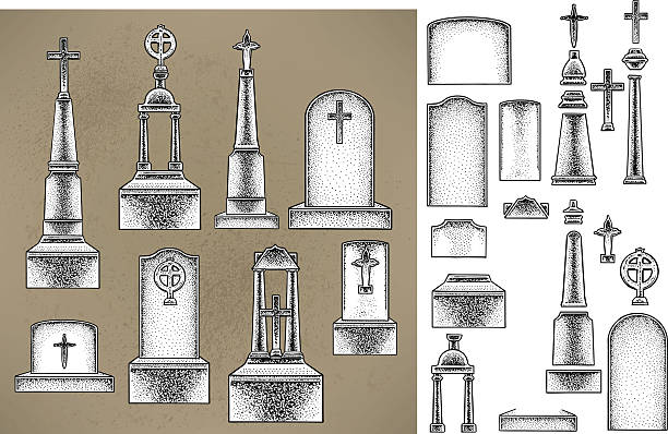 tombstones, graveyard - tombstone stock illustrations, clip art, cartoons, & icons
