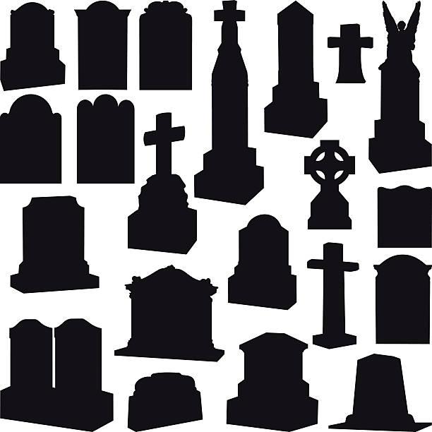 tombstones, headstones, gravestone and crosses - tombstone stock illustrations, clip art, cartoons, & icons