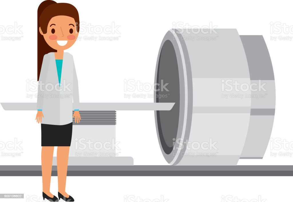 tomography scanner machine with medical professional vector art illustration