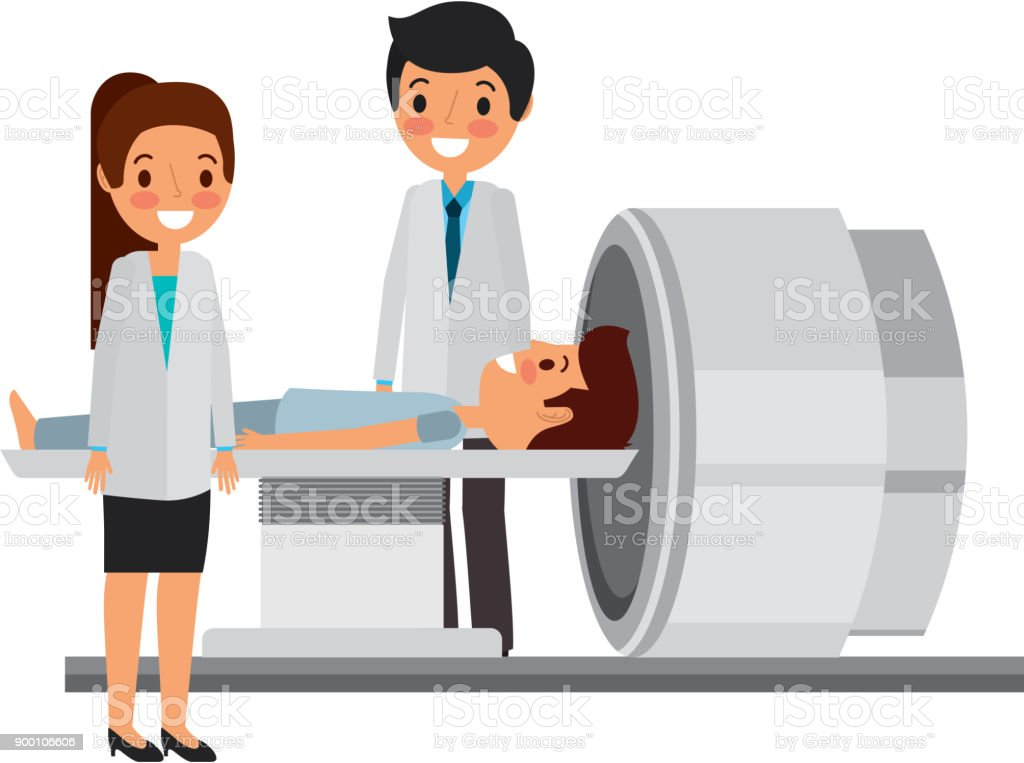 tomography scanner machine with patient and doctor vector art illustration