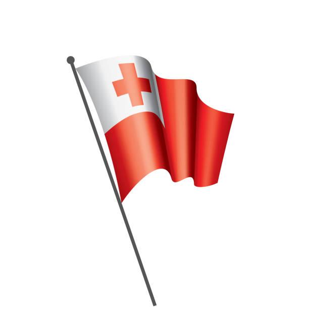 Tonga flag, vector illustration on a white background. vector art illustration