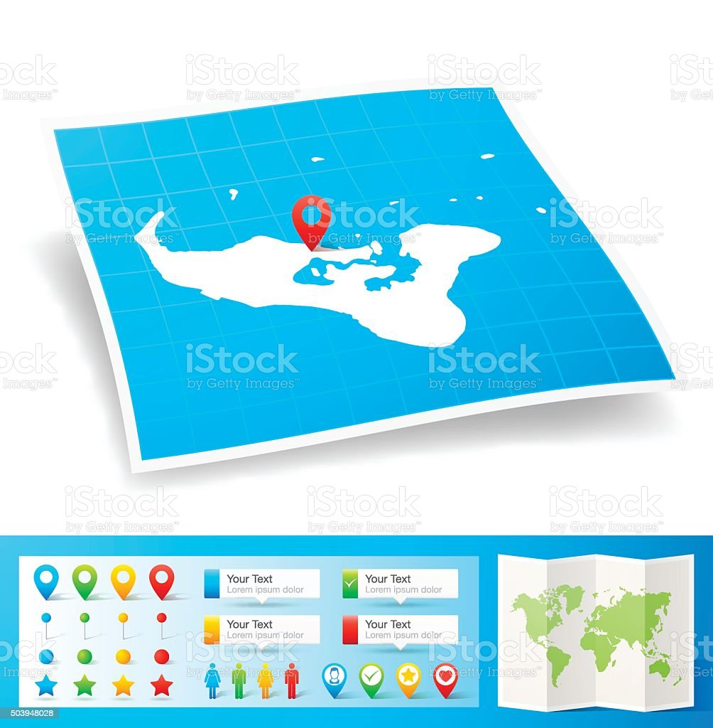 Tonga Map with location pins isolated on white Background vector art illustration