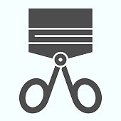 istock Tongs for eyelashes solid icon. Beauty salon equipment vector illustration isolated on white. Eyelash curler glyph style design, designed for web and app. Eps 10. 1202229297