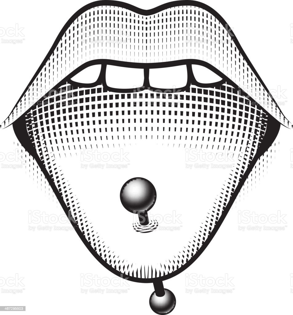Tongue Piercing Stud royalty-free tongue piercing stud stock vector art & more images of cultures