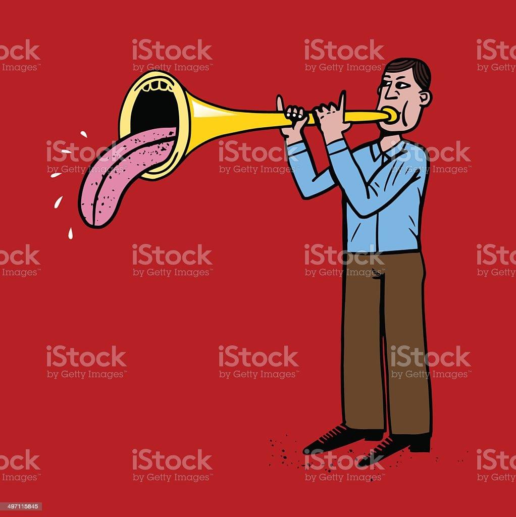 Tongue trumpeter vector art illustration