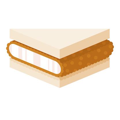 Tonkatsu Sandwich Icon on Transparent Background