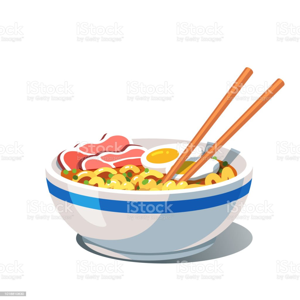 Tonkotsu Ramen Soup Bowl Noodles And Chopsticks Oriental Chinese And Japanese Dish Flat Style Vector Stock Illustration Download Image Now Istock