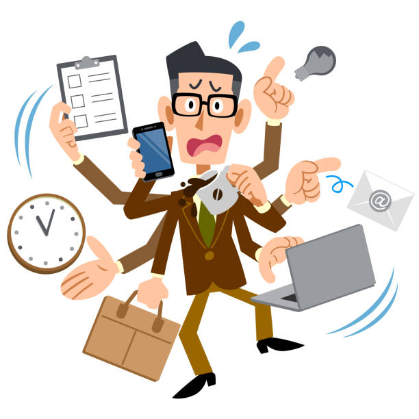 Too busy men with brown jacket wearing glasses Too busy men with brown jacket wearing glasses overworked stock illustrations
