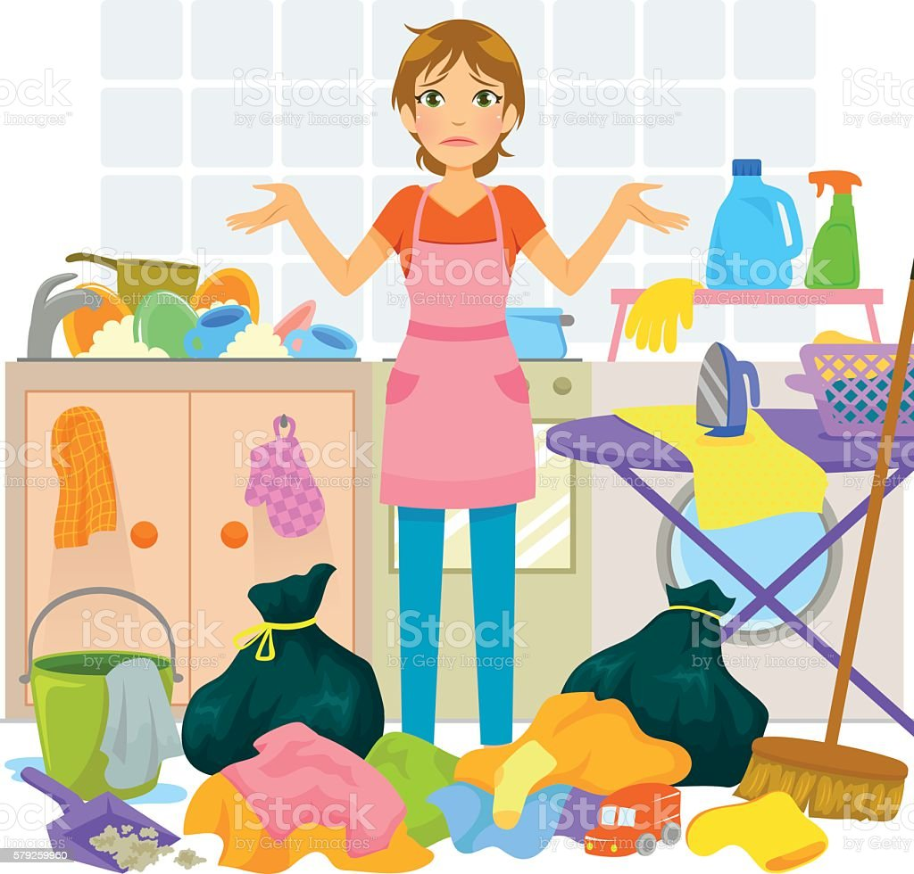too much housework vector art illustration