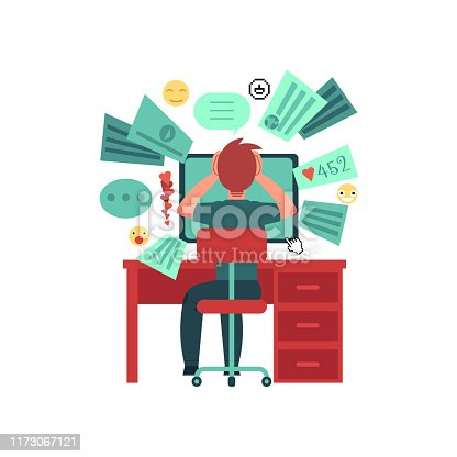 Young man sits behind the table with computer monitor. Overload of data. Too much information in network. Isolated on white background. Cartoon character. Flat colorful vector illustration.
