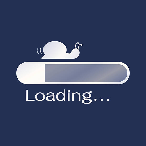 Too slow loading Too slow loading, compare to slower than snail. Funny on computer technology. boredom stock illustrations