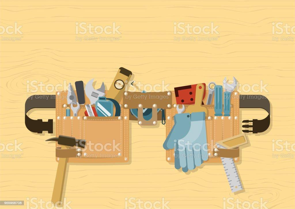 Cinto de ferramentas no fundo madeira - ilustração de arte em vetor