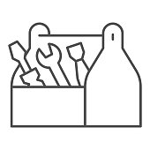 istock Tool box thin line icon, house repair concept, Wooden toolbox sign on white background, toolbox with tools icon in outline style for mobile concept and web design. Vector graphics. 1264201382