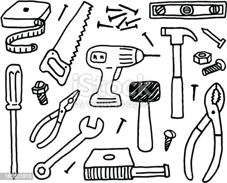 A doodle page of tools.