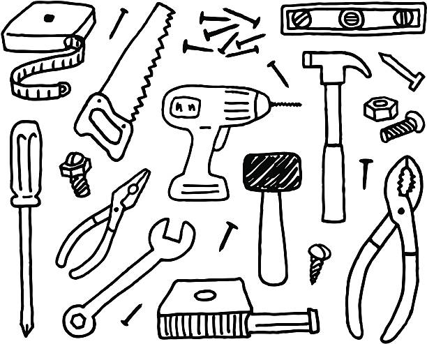Tool Doodles A doodle page of tools. nail work tool stock illustrations