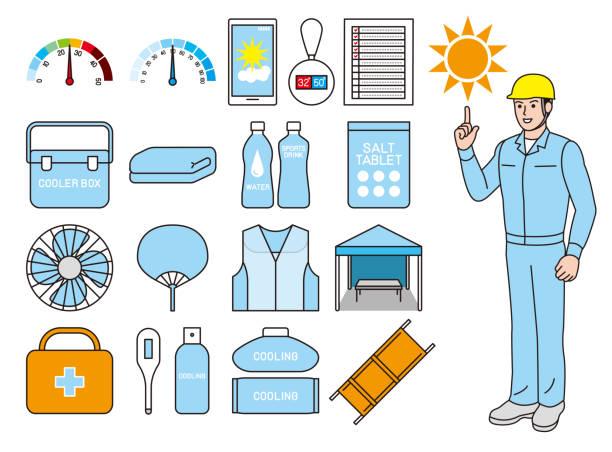 Tool for measures against heat stroke vector art illustration
