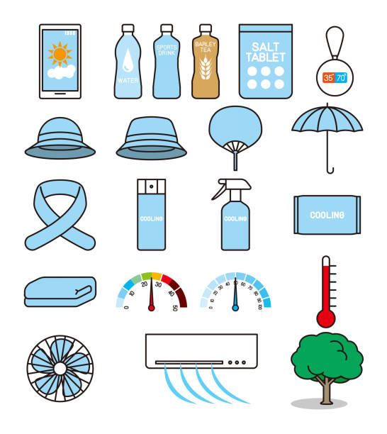 Tool for preventing heat stroke Tools heat wave stock illustrations