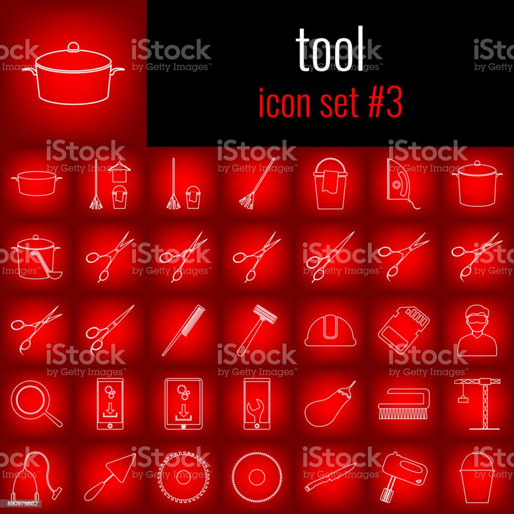 Tool. Icon set 3. White line icon on red gradient backgrpund. vector art illustration