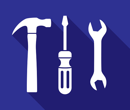 Vector illustration of hammer, screwdriver, and wrench icons against a blue background in flat style.