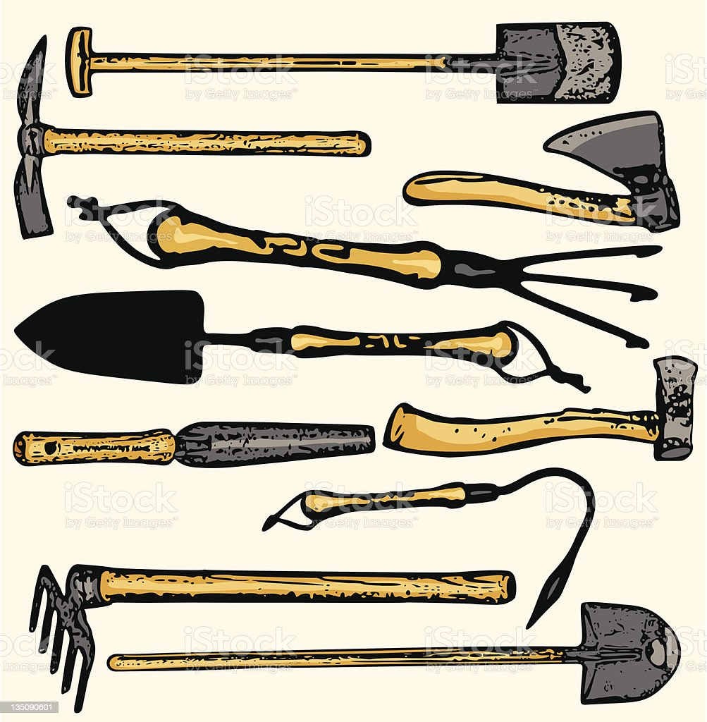 Tool Illustrations XVI: Gardening Tools (Vector) royalty-free stock vector art
