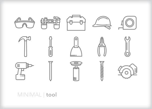 werkzeugliniensymbolsatz - schutzbrille stock-grafiken, -clipart, -cartoons und -symbole