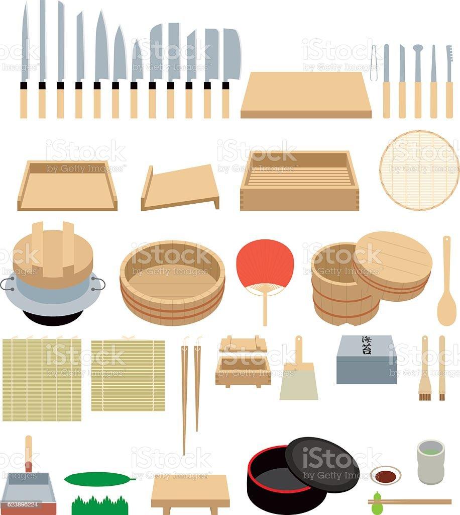 Tool to make sushi.kitchen ware. vector art illustration