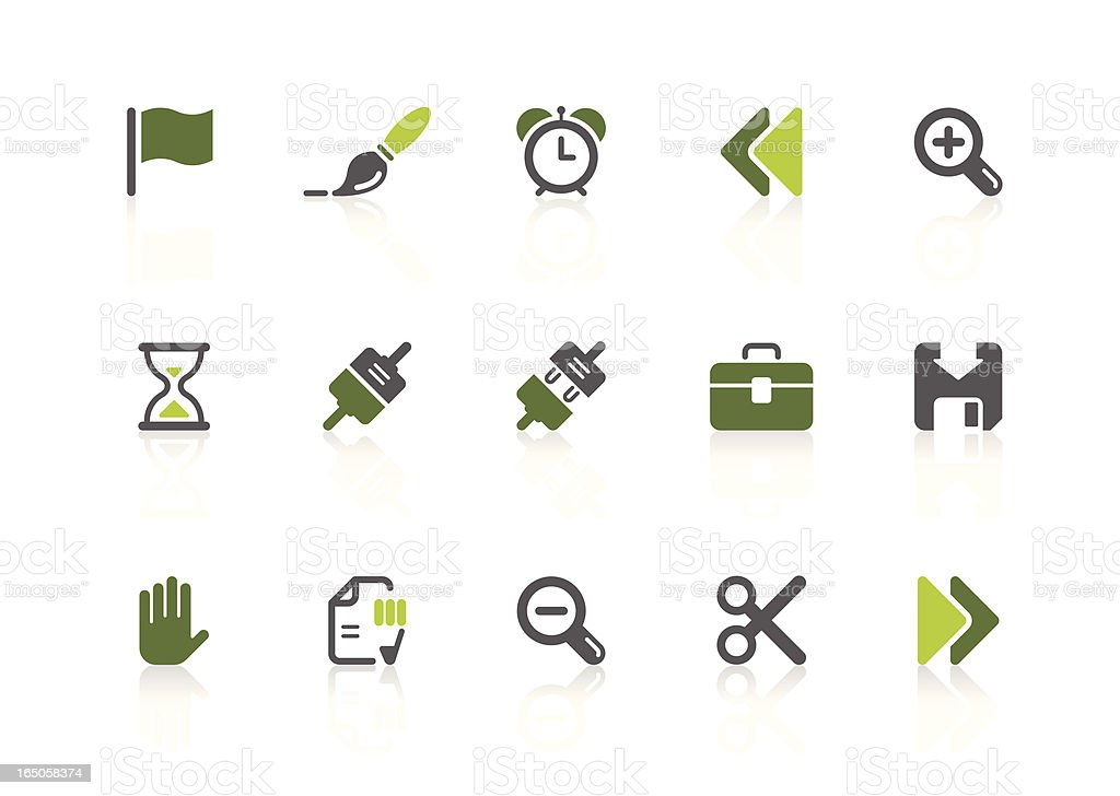 Toolbar icons | lime series royalty-free stock vector art