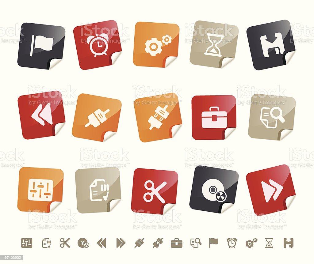 Toolbar & Interface icons Í Sticky series royalty-free stock vector art