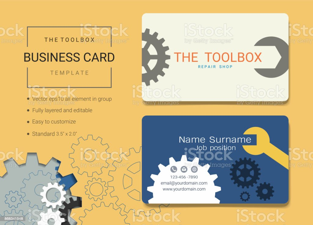 Toolbox Business Card Or Name Card Template Simple Style Also Modern ...