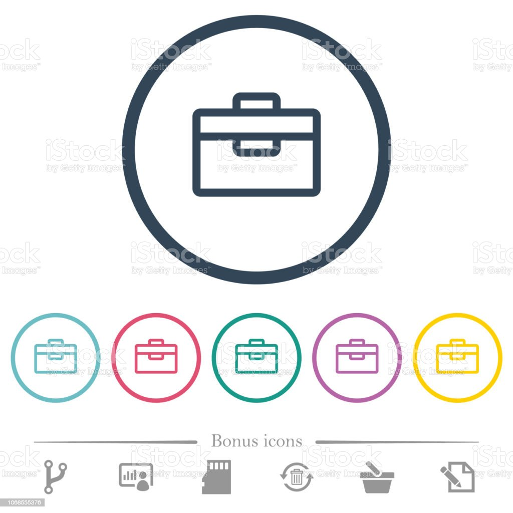 Toolbox flat color icons in round outlines