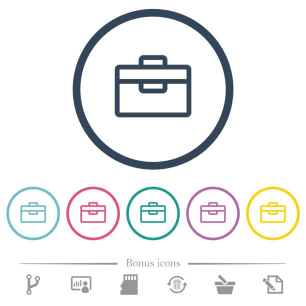 Flache Farbe Toolboxsymbole in Runde Konturen – Vektorgrafik